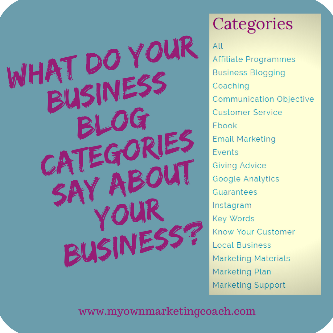 What do your business blog categories say about your business? My Own Marketing Coach
